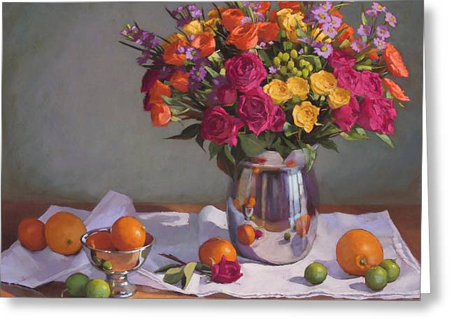 Still Life Pastels Greeting Cards - Bright Colors on a White Cloth Greeting Card by Sarah Blumenschein