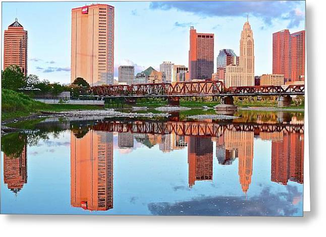 Bright Columbus Sky And Reflection Greeting Card