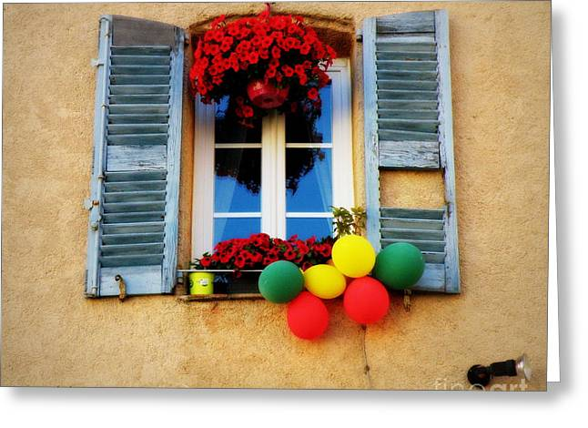 Bright Flowers And Balloons Greeting Card