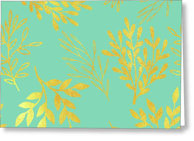 Bright Golden Leaves On Aquamarine Botanical Pattern Greeting Card by Tina Lavoie