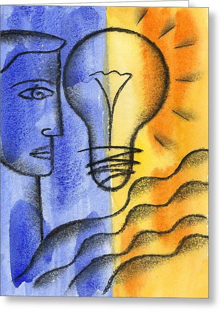 Bright Idea Greeting Card by Leon Zernitsky