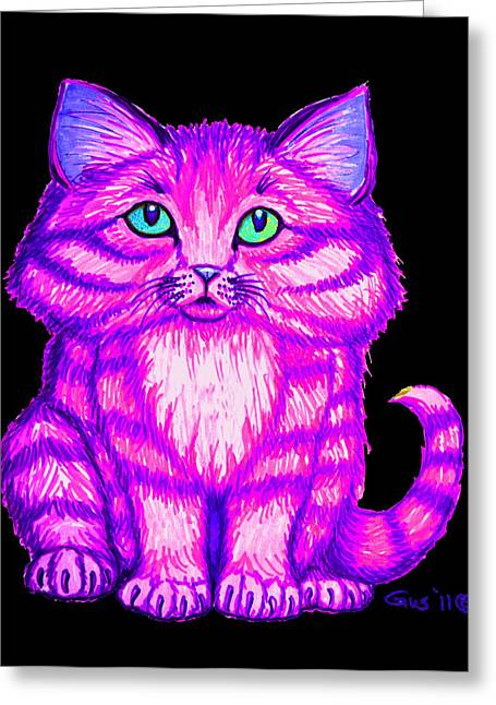 Kitty Drawings Greeting Cards - Bright Kitty Greeting Card by Nick Gustafson