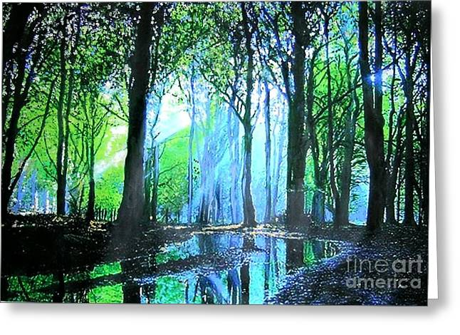 Bright Light In Dark Wood Greeting Card