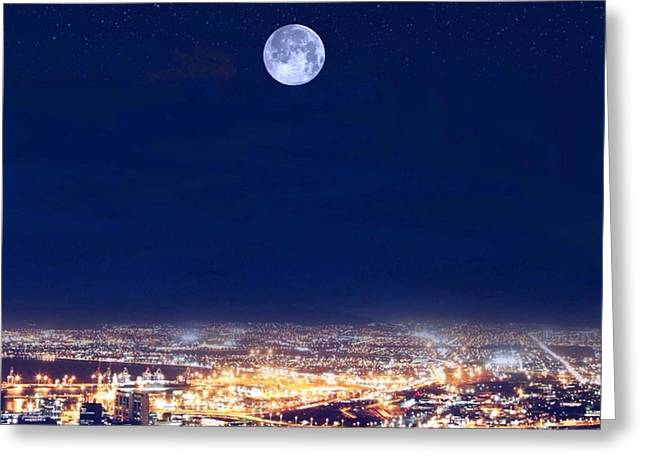Greeting Card featuring the digital art Bright Lights Big City by Mark Taylor
