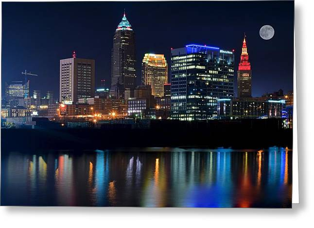 Bright Lights City Nights Greeting Card by Frozen in Time Fine Art Photography