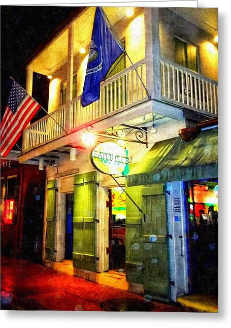 Bright Lights In The French Quarter Greeting Card by Glenn McCarthy Art and Photography