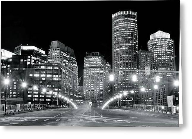 Bright Lights Lead Into Boston Greeting Card by Frozen in Time Fine Art Photography