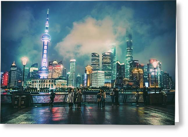 Bright Lights Of Pudong Greeting Card
