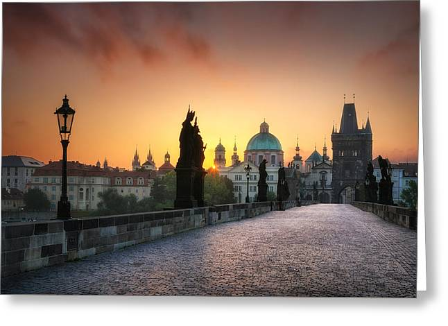 Bright Morning In Prague, Czech Republic Greeting Card