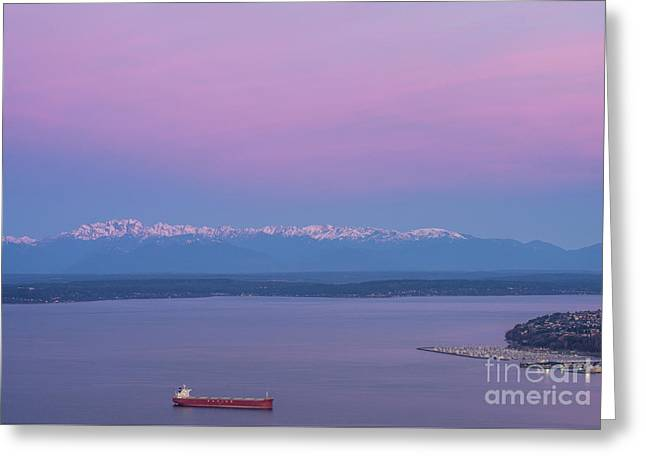 Bright Olympic Mountains And Sunrise Skies Greeting Card by Mike Reid