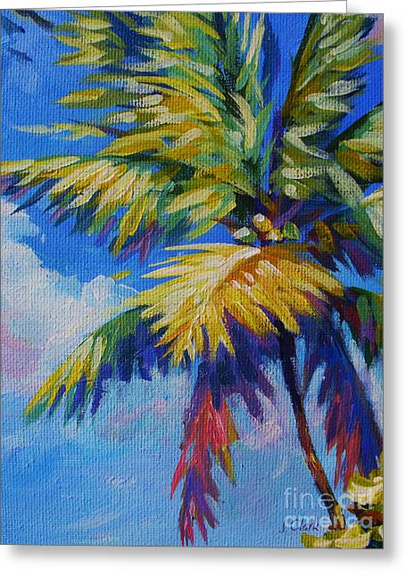 Tropical Oceans Greeting Cards - Bright Palm Greeting Card by John Clark