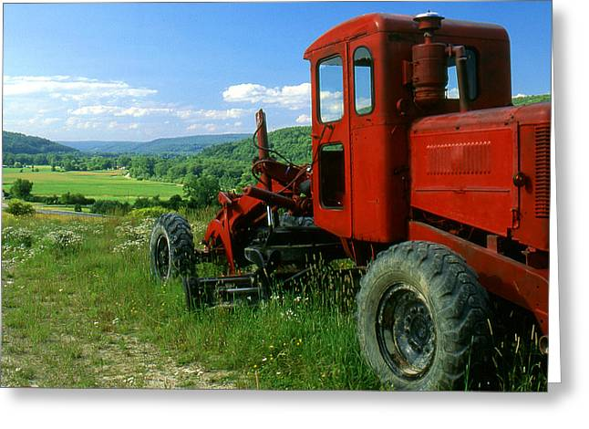Bright Red Antique Grader Greeting Card