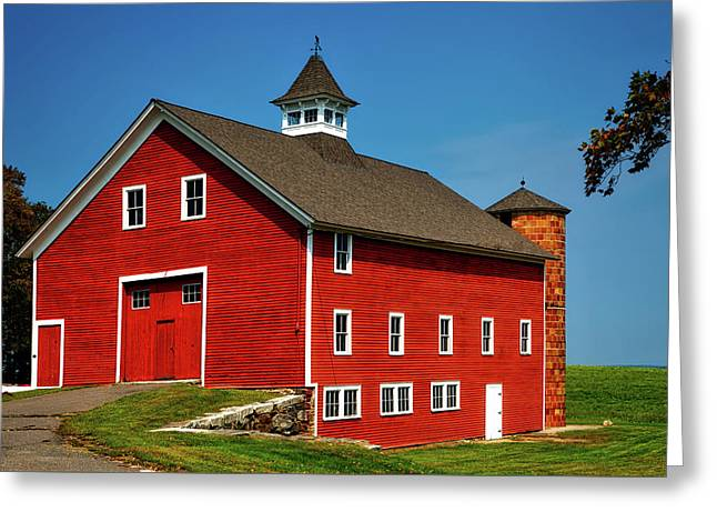 Bright Red Barn In Connecticut Greeting Card by Mountain Dreams