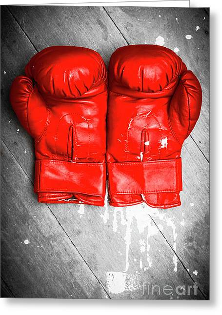 Bright Red Boxing Gloves Greeting Card by Jorgo Photography - Wall Art Gallery