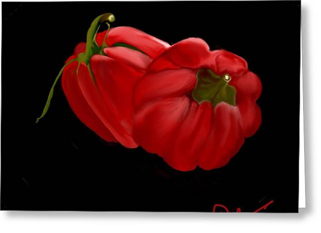 Bright Red Peppers Greeting Card