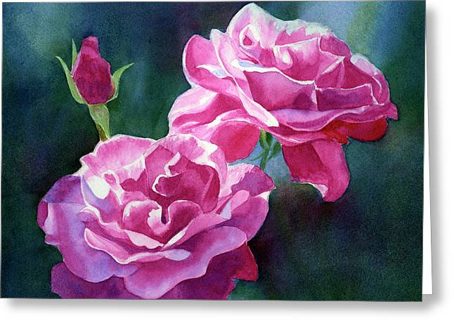 Bright Red Violet Roses With Dark Background Greeting Card by Sharon Freeman