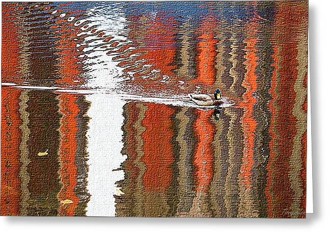 Bright Reflections Of Autumn On The River Greeting Card