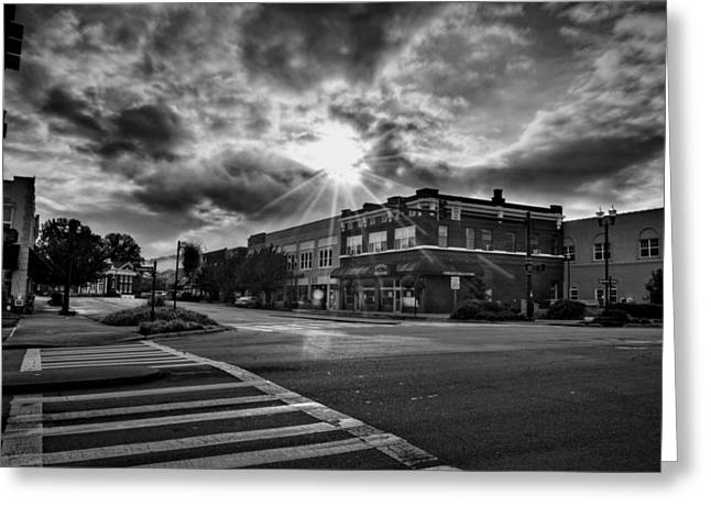 Bright Sun In Murphy North Carolina In Black And White Greeting Card