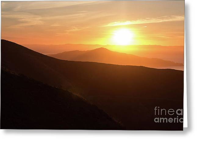 Bright Sun Rising Over The Mountains Greeting Card
