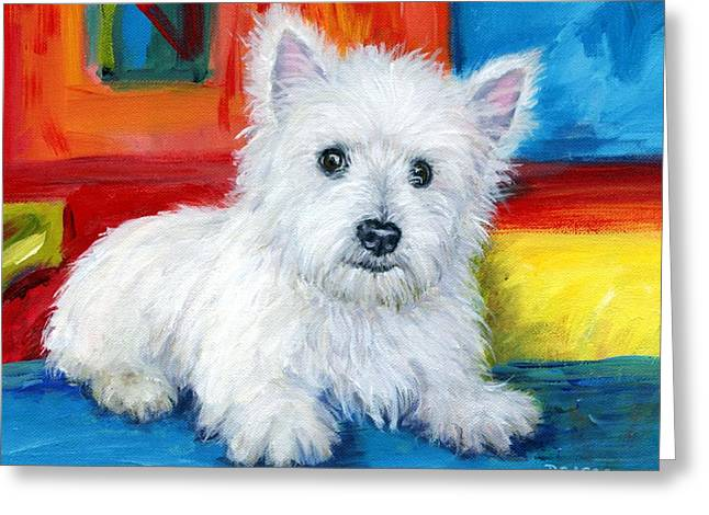 Bright Westie Greeting Card by Dottie Dracos