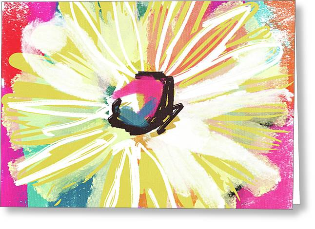 Bright Yellow Flower- Art By Linda Woods Greeting Card