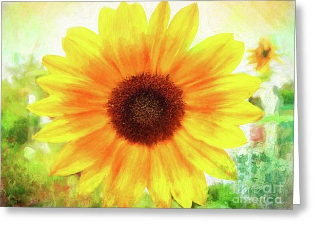 Bright Yellow Sunflower - Painted Summer Sunshine Greeting Card