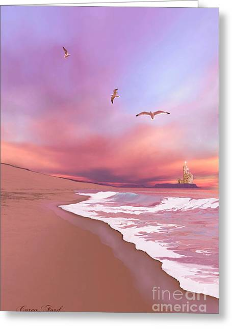 Sand Castles Digital Greeting Cards - Brighten Beach Greeting Card by Corey Ford