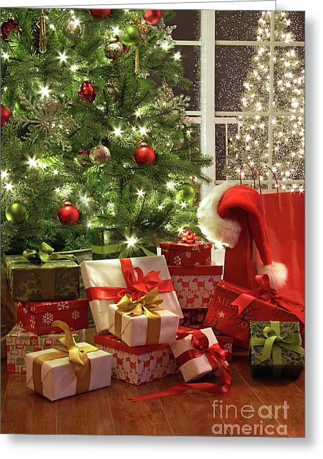 Brightly Lit Christmas Tree With Lots Of Gifts Greeting Card by Sandra Cunningham