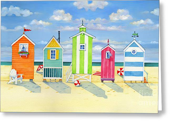 Brighton Beach Huts Greeting Card by Paul Brent
