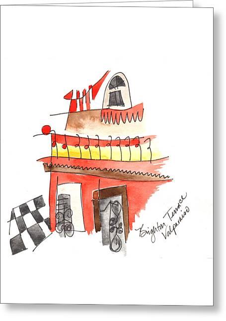 Brighton Terrace Valparaiso Greeting Card by Anna Elkins