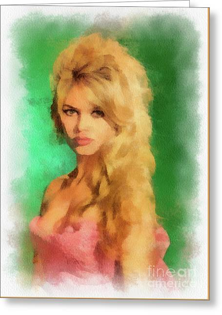 Brigitte Bardot By John Springfield Greeting Card