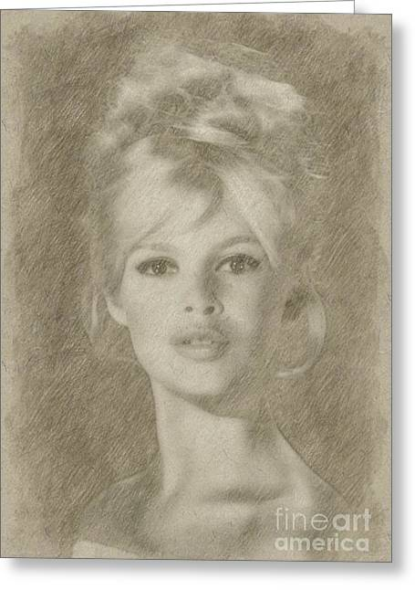 Brigitte Bardot Hollywood Actress Greeting Card by Frank Falcon