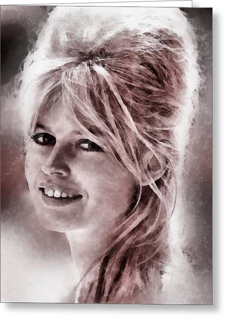 Brigitte Bardot Hollywood Icon By John Springfield Greeting Card