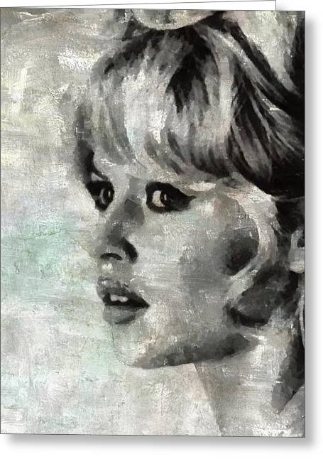 Brigitte Bardot Hollywood Icon By Mary Bassett Greeting Card