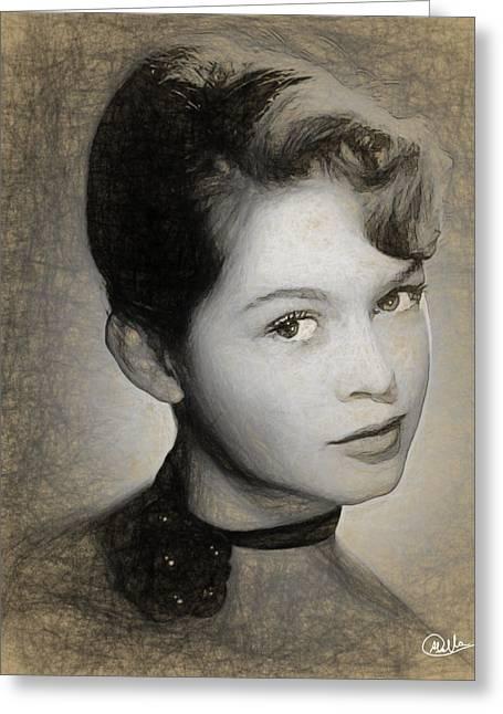 Brigitte Bardot Pencil Draw Greeting Card by Quim Abella