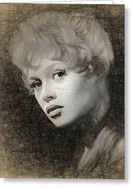Brigitte Bardot Pencil Greeting Card by Quim Abella