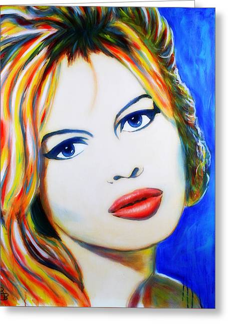 Greeting Card featuring the painting Brigitte Bardot Pop Art Portrait by Bob Baker