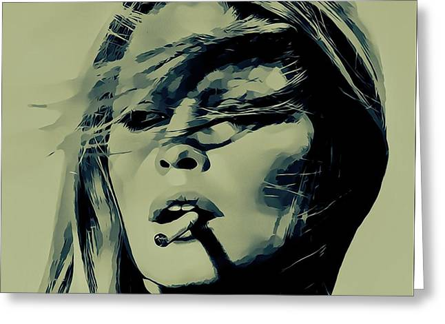 Brigitte Bardot Smoking Greeting Card