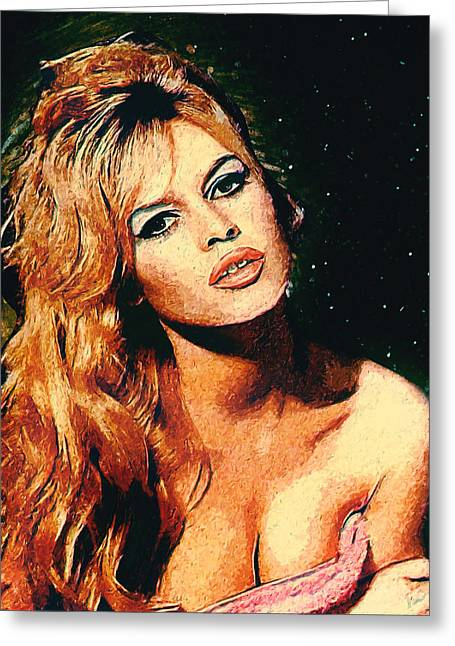 Brigitte Bardot Greeting Card by Taylan Apukovska