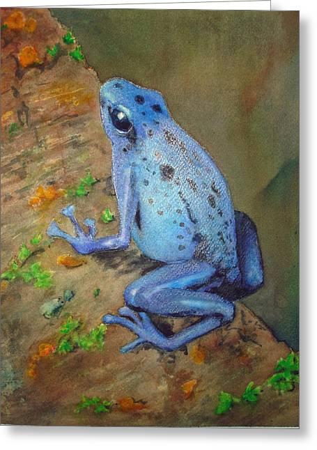 Brilliant Blue Poison Dart Frog Greeting Card by Kerra Lindsey