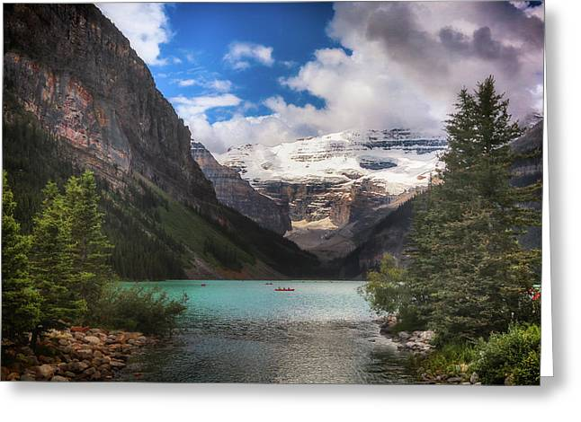 Brilliant Lake Louise Greeting Card by Monte Arnold