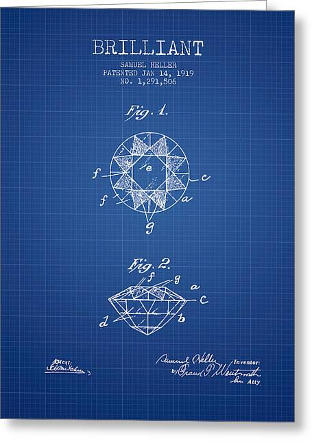 Brilliant Patent From 1919 - Blueprint Greeting Card by Aged Pixel