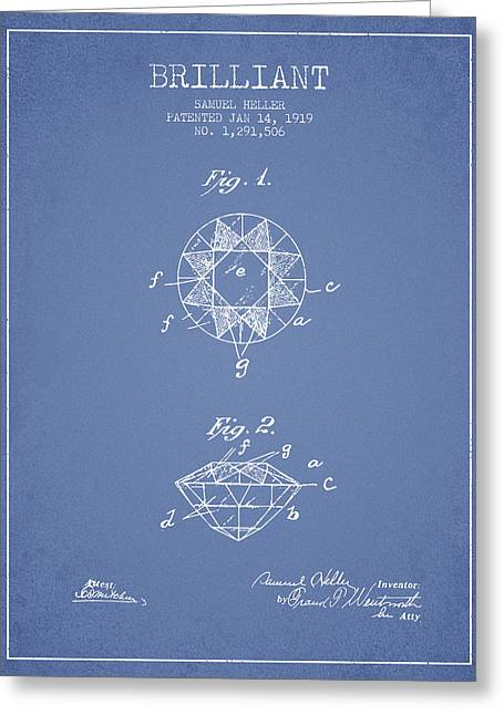 Brilliant Patent From 1919 - Light Blue Greeting Card by Aged Pixel