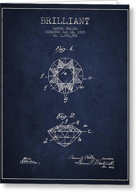 Brilliant Patent From 1919 - Navy Blue Greeting Card by Aged Pixel