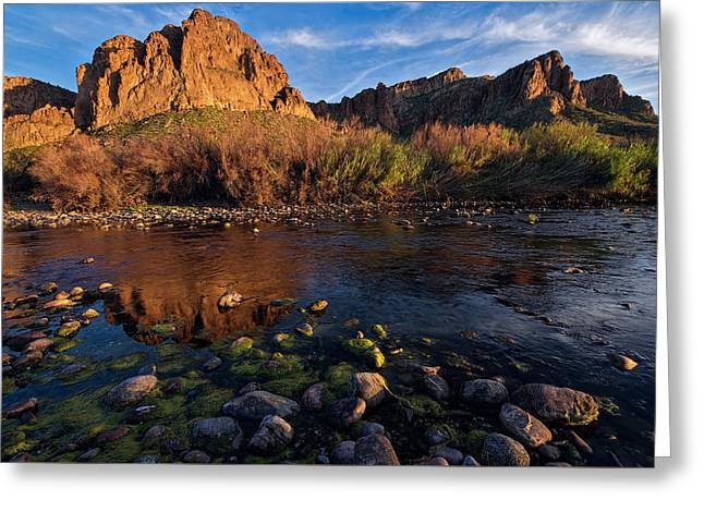 Greeting Card featuring the photograph Brilliant Salt River Colors At Sunset by Dave Dilli