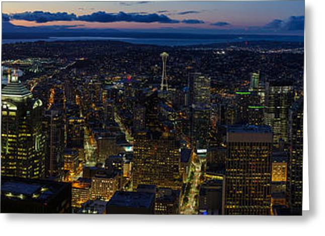 Brilliant Seattle Skyline Panorama From Atop The Columbia Center Greeting Card by Mike Reid