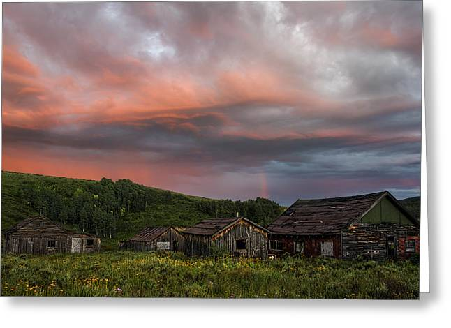 Brilliant Skies Over A Ghost Town Near Steamboat Springs Colorado Greeting Card