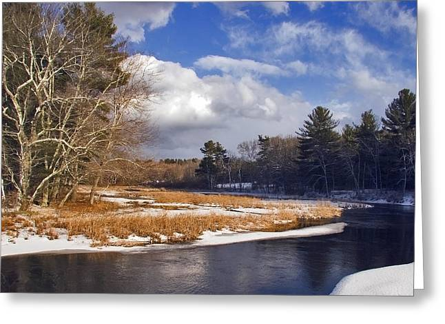 Brilliant Sky Snowy Brook Greeting Card by Frank Winters