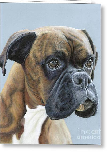 Greeting Card featuring the painting Brindle Boxer Dog - Jack by Donna Mulley