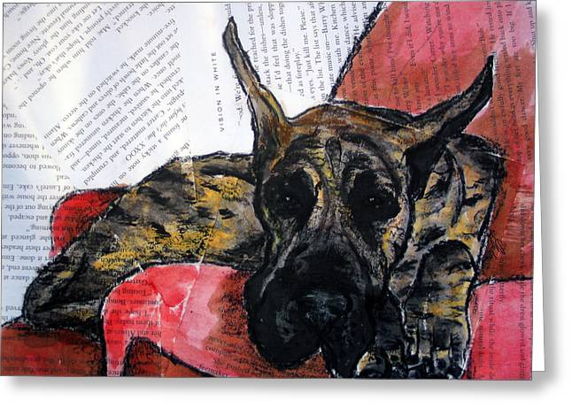 Dog On Couch Greeting Cards - Brindle Great Dane on Couch Greeting Card by Christas Designs